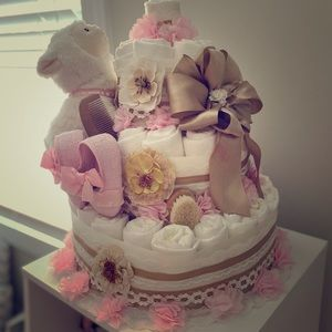 Four tier diaper cake